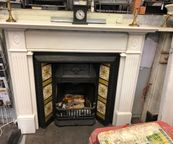 White Italian Marble Reclaimed Fireplace